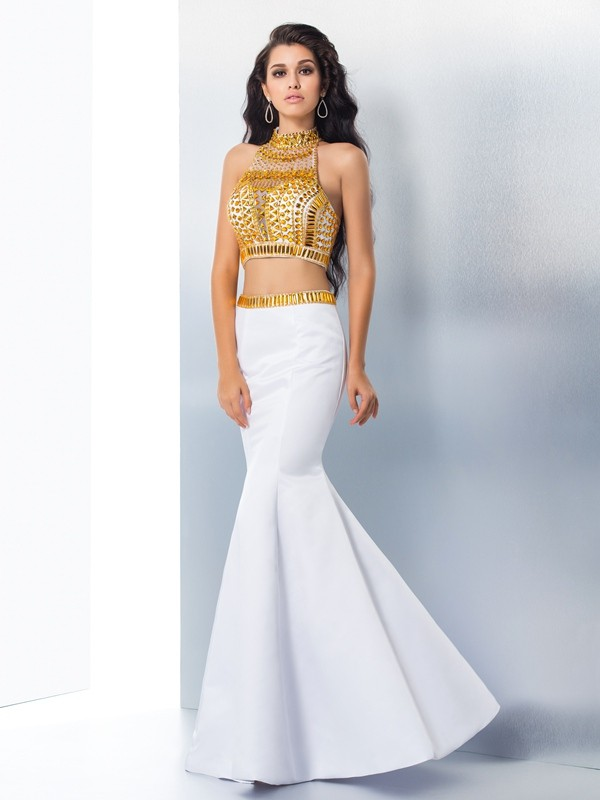 Styled to Smile Mermaid Style High Neck Beading Long Satin Dresses