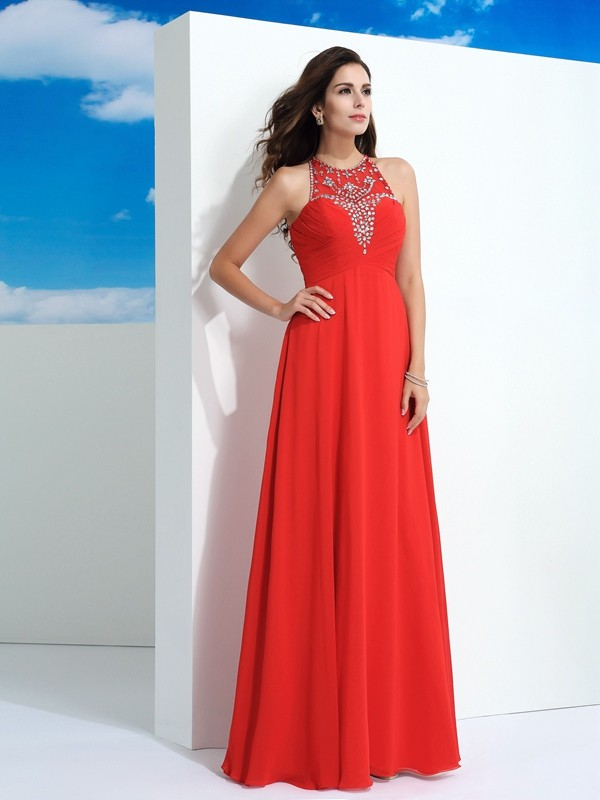 Pleased to be Me Princess Style Sheer Neck Beading Long Chiffon Dresses