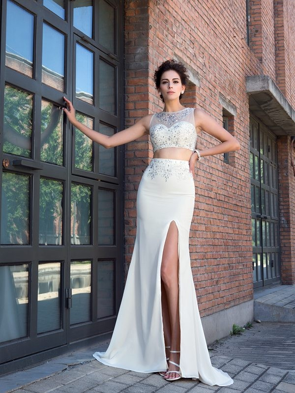 Dancing Queen Sheath Style High Neck Crystal Long Chiffon Two Piece Dresses