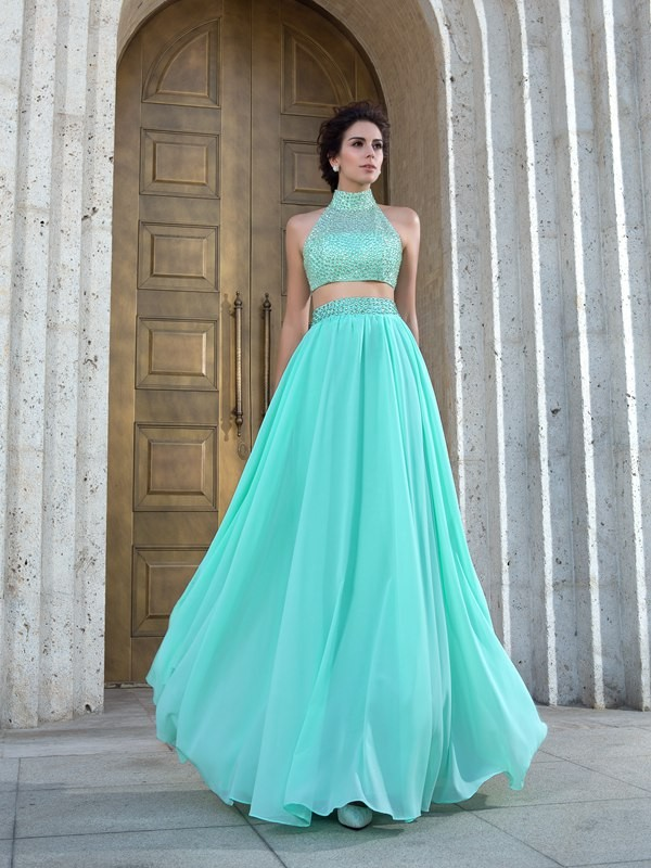 Stylish Refresh Princess Style High Neck Beading Long Chiffon Two Piece Dresses