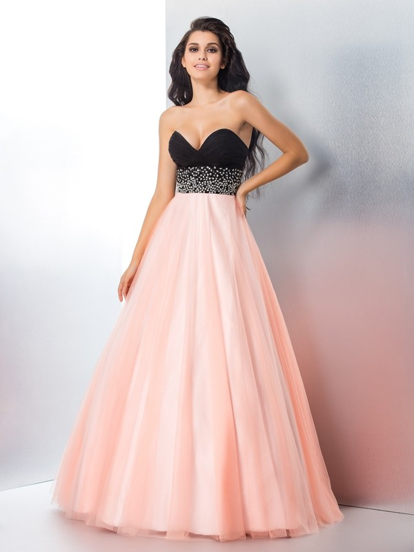 Lively Identity Ball Gown Sweetheart Beading Long Satin Quinceanera Dresses