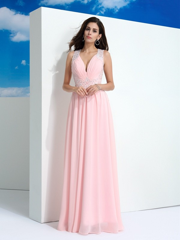 Defined Shine Princess Style Straps Beading Long Chiffon Dresses