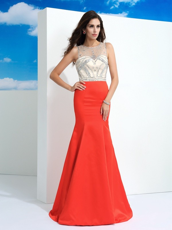 Comfortably Chic Mermaid Style Sheer Neck Beading Long Satin Dresses