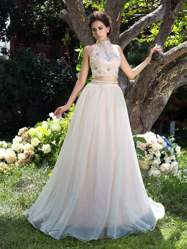 Creative Courage Princess Style High Neck Beading Long Net Two Piece Dresses