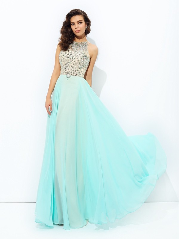 Voiced Vivacity Princess Style Jewel Beading Long Chiffon Dresses