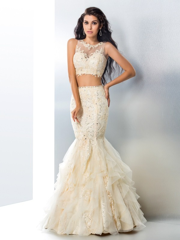 Automatic Classic Mermaid Style Sheer Neck Beading Long Tulle Two Piece Dresses