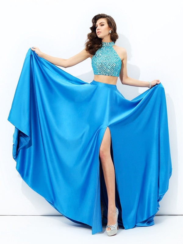 Pleased to be Me Princess Style High Neck Beading Long Satin Two Piece Dresses