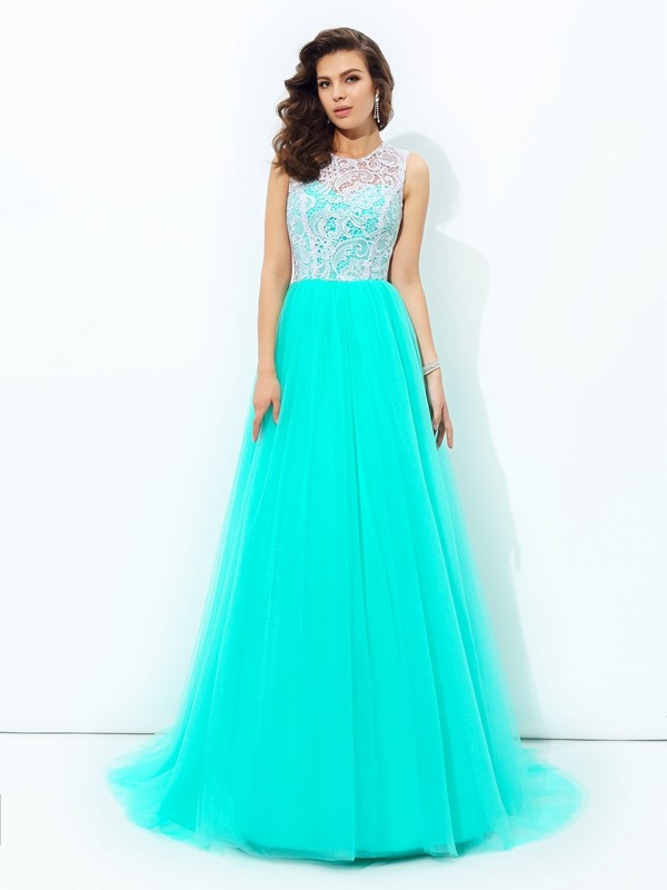 Memorable Magic Princess Style Scoop Lace Long Net Dresses