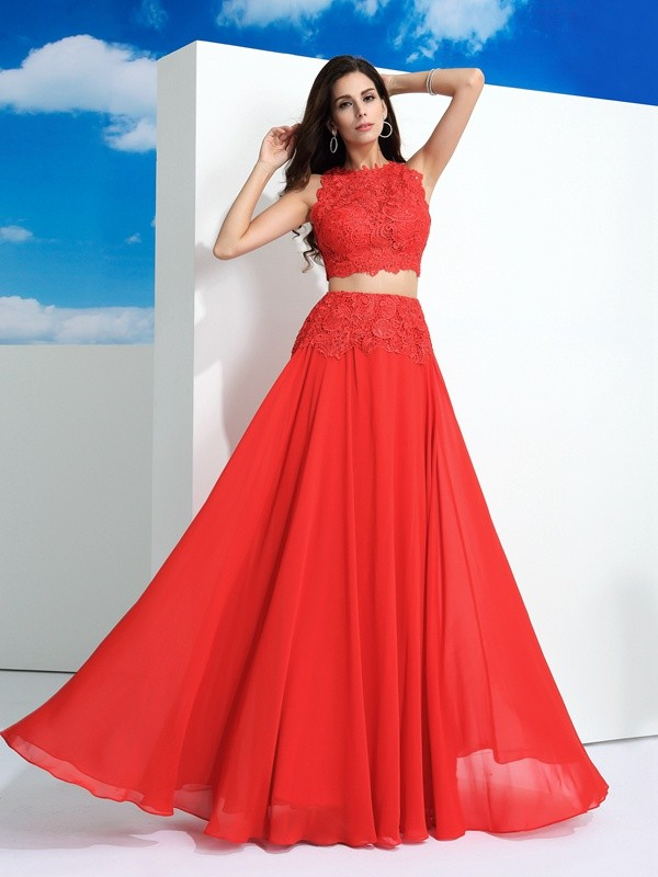 Yours Truly Princess Style Scoop Lace Long Chiffon Two Piece Dresses