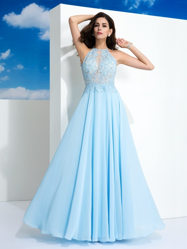 Befits Your Brilliance Princess Style Spaghetti Straps Applique Long Chiffon Dresses