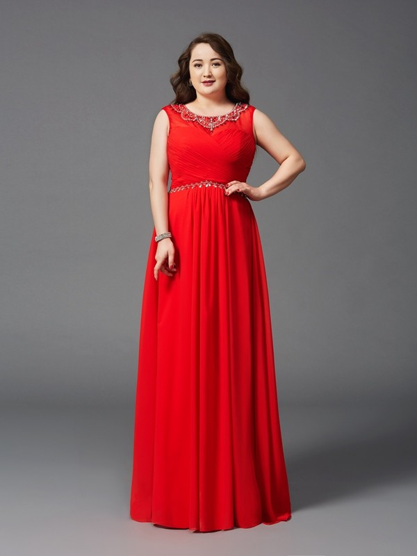 Voiced Vivacity Princess Style Scoop Beading Long Chiffon Plus Size Dresses