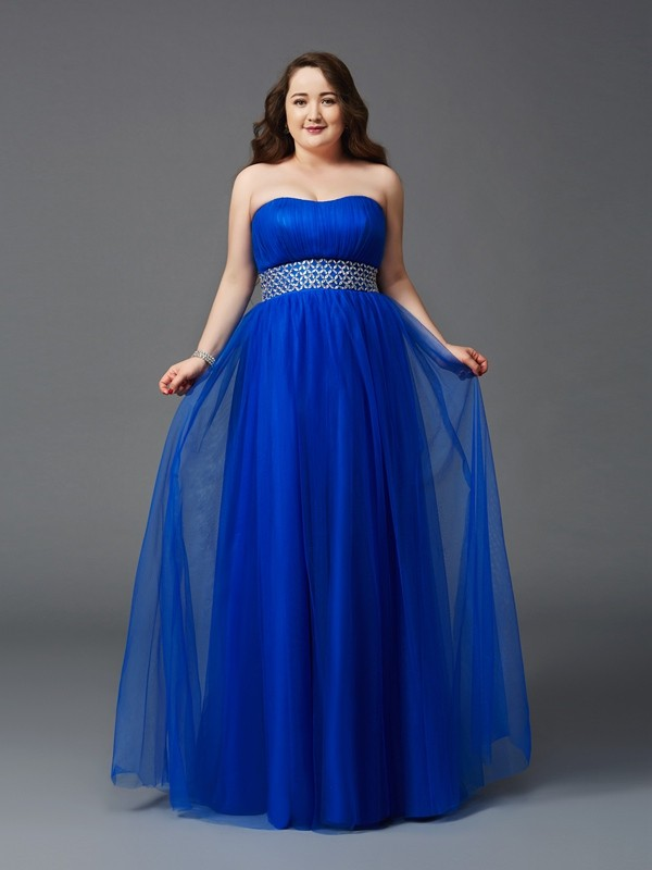 Visual Moment Princess Style Strapless Rhinestone Long Net Plus Size Dresses