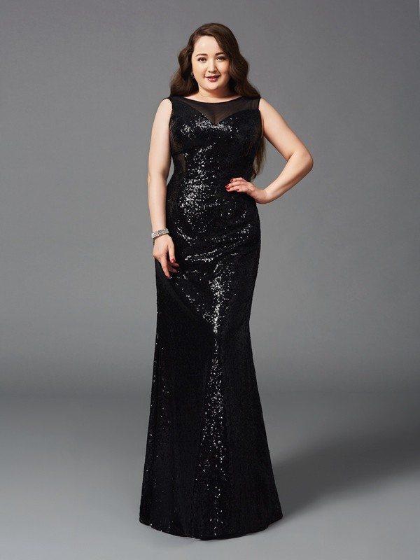Too Much Fun Sheath Style Scoop Long Sequins Plus Size Dresses
