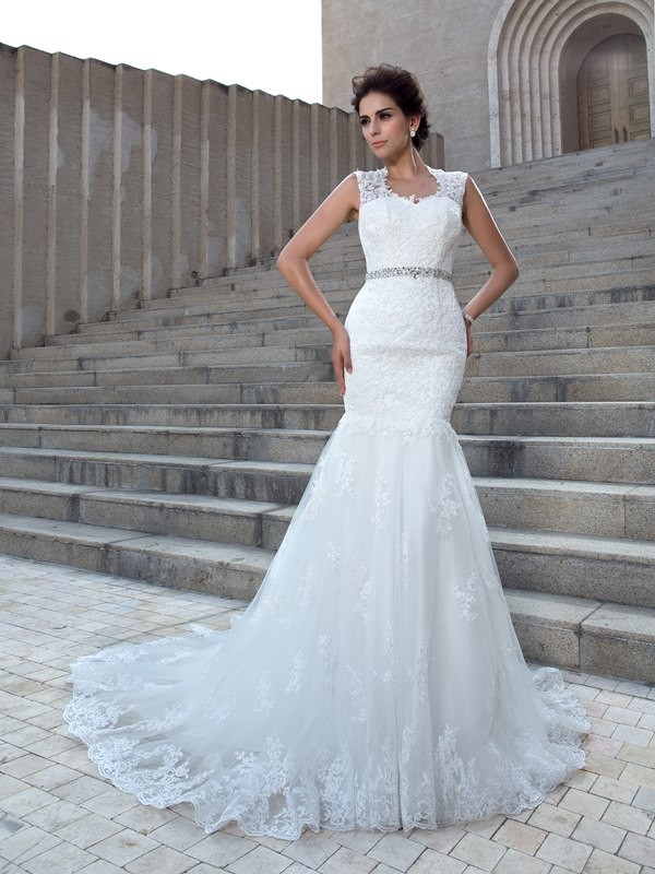Just My Style Mermaid Style V-neck Applique Long Lace Wedding Dresses