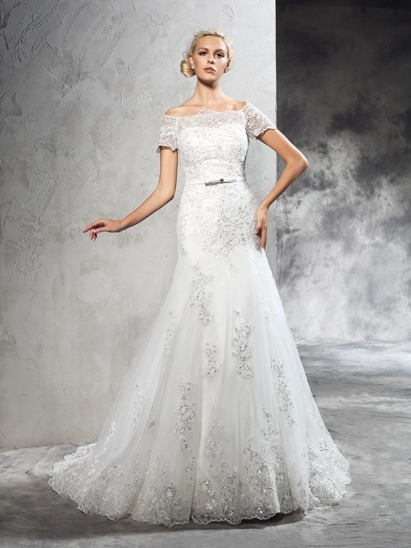 Beautiful You Sheath Style Off-the-Shoulder Applique Long Net Wedding Dresses