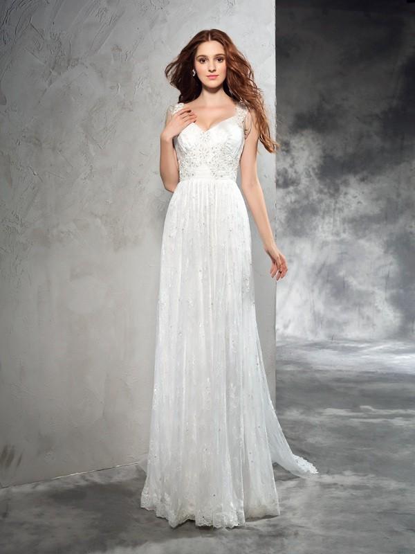 Easily Adored Princess Style Straps Lace Long Lace Wedding Dresses