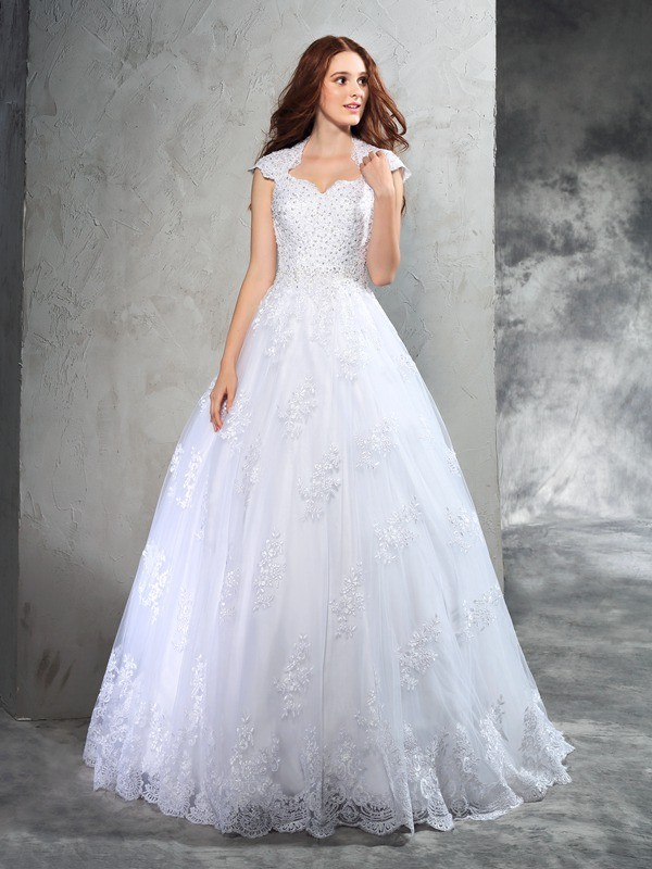 Dashing Darling Ball Gown Sweetheart Lace Long Organza Wedding Dresses