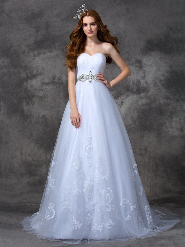Absolute Lovely Princess Style Sweetheart Beading Long Satin Wedding Dresses
