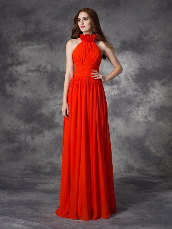 Cordially Delighted Princess Style Halter Hand-Made Flower Long Chiffon Bridesmaid Dresses