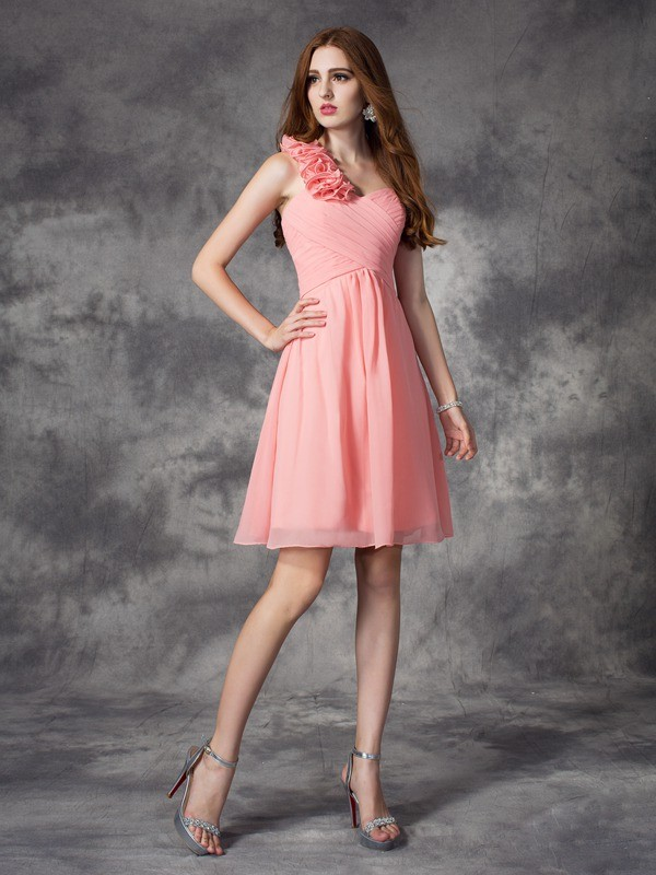 Pretty Looks Princess Style One-Shoulder Hand-Made Flower Short Chiffon Bridesmaid Dresses
