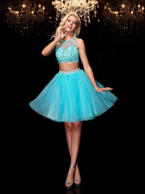 Eye-Catching Charm Princess Style Scoop Rhinestone Short Net Dresses