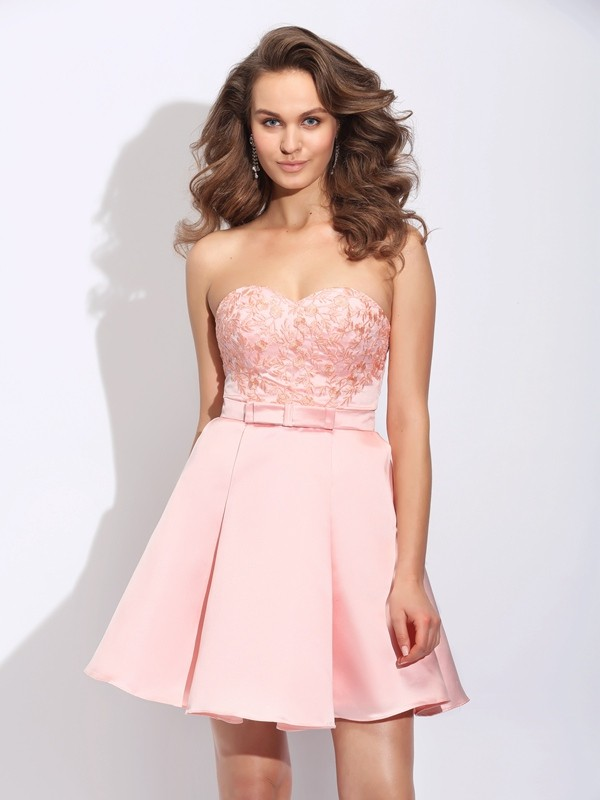 Pretty Looks Princess Style Sweetheart Ruffles Short Satin Dresses