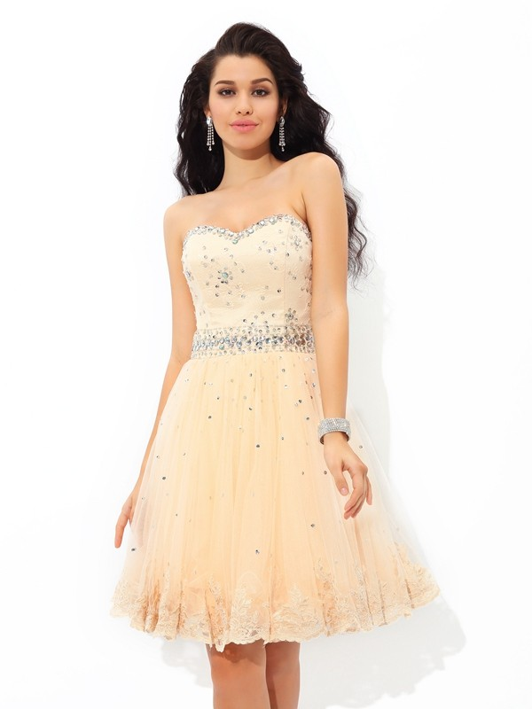 Cheerful Spirit Princess Style Sweetheart Beading Short Satin Cocktail Dresses