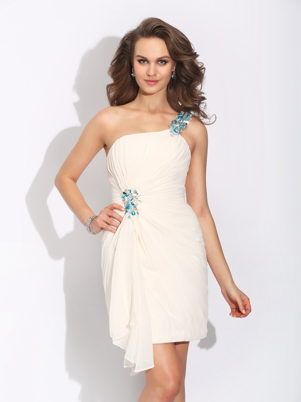 Touch of Texture Sheath Style One-Shoulder Beading Short Chiffon Dresses