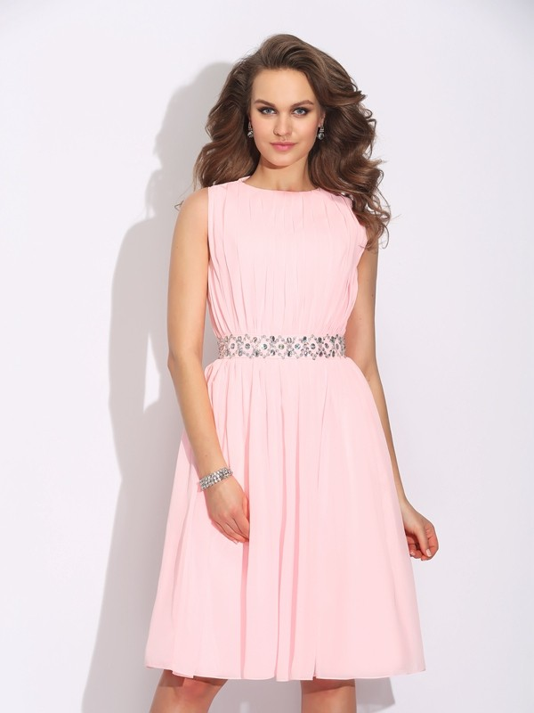 Naturally Chic Princess Style Jewel Ruffles Short Chiffon Dresses
