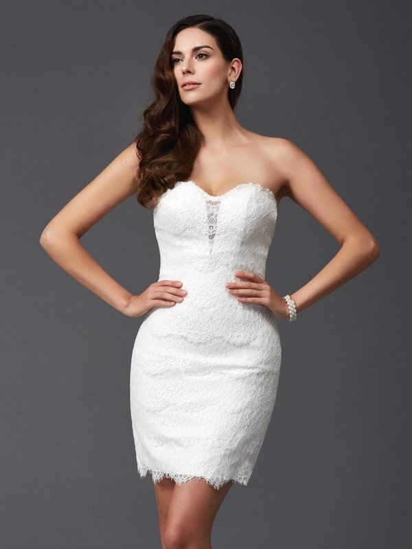 Savor the Occasion Sheath Style Sweetheart Lace Short Lace Dresses