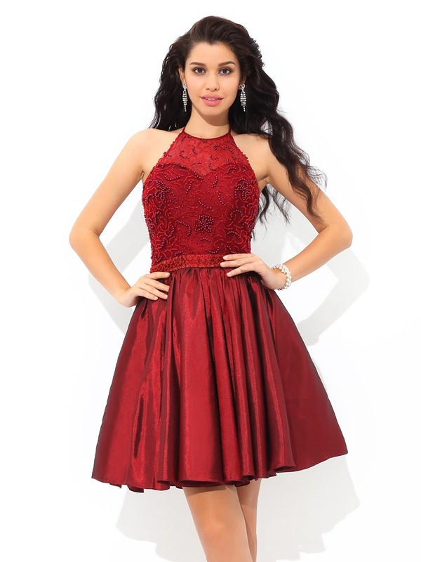 Eye-Catching Charm Princess Style Halter Beading Short Taffeta Cocktail Dresses