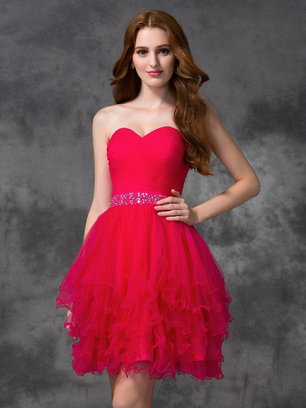 Intuitive Impact Princess Style Sweetheart Beading Short Satin Cocktail Dresses
