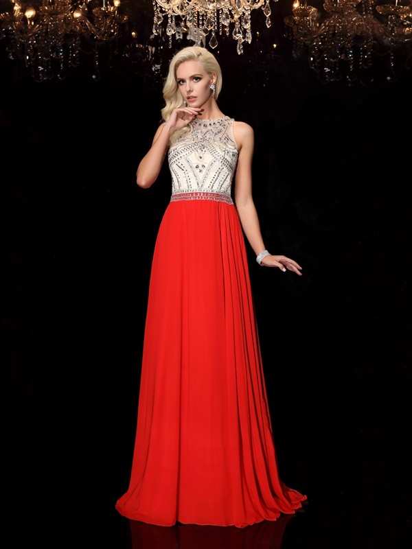 Styled to Smile Princess Style Scoop Beading Long Chiffon Dresses