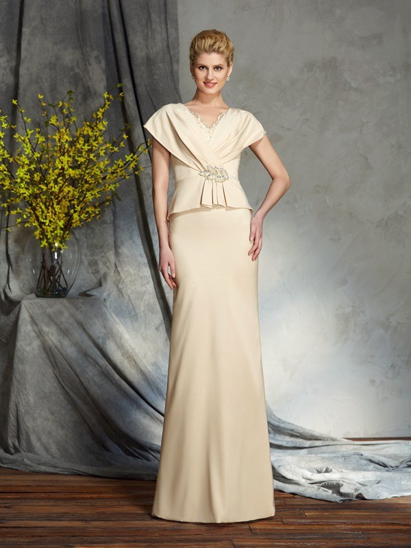 Festive Self Sheath Style V-neck Beading Long Silk like Satin Mother of the Bride Dresses