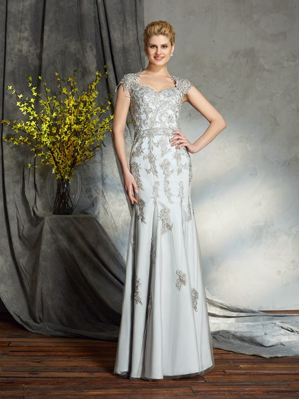 Pretty Looks Sheath Style Sweetheart Applique Long Satin Mother of the Bride Dresses