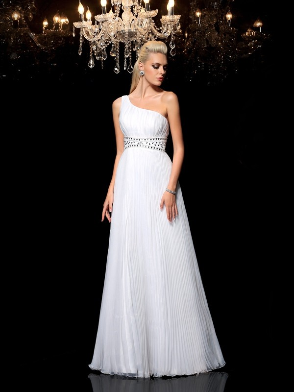 Pleasant Emphasis Princess Style One-Shoulder Beading Long Organza Dresses