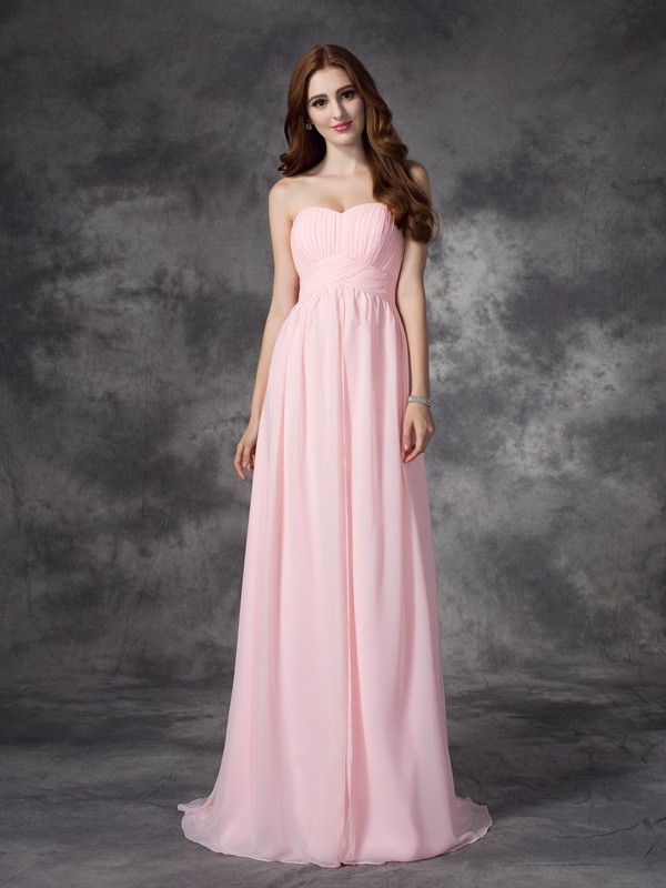 Time to Shine Princess Style Sweetheart Ruched Long Chiffon Dresses