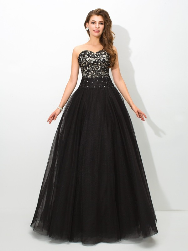 Creative Courage Ball Gown Sweetheart Lace Long Net Quinceanera Dresses