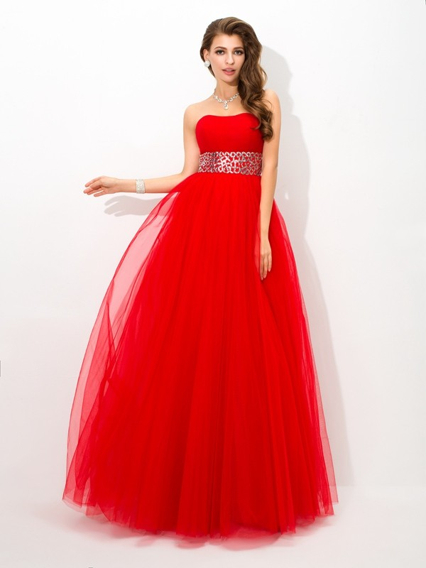 Sweet Sensation Ball Gown Strapless Beading Long Net Quinceanera Dresses