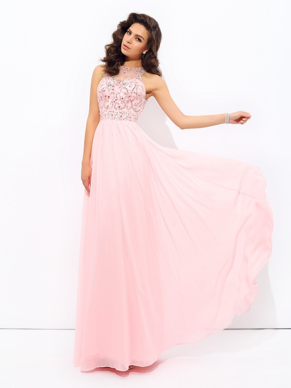 Pretty Looks Princess Style Jewel Beading Long Chiffon Dresses
