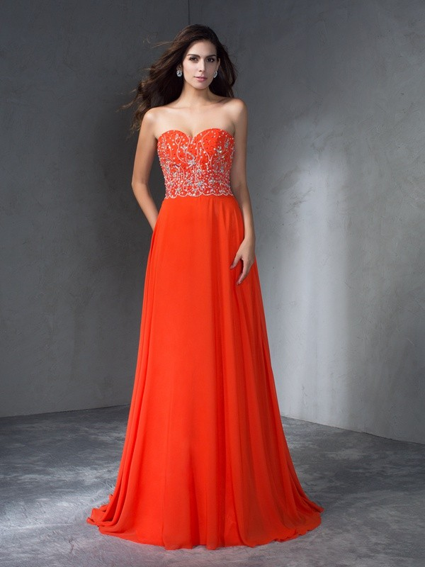 Pleased to be Me Princess Style Sweetheart Long Beading Chiffon Dresses