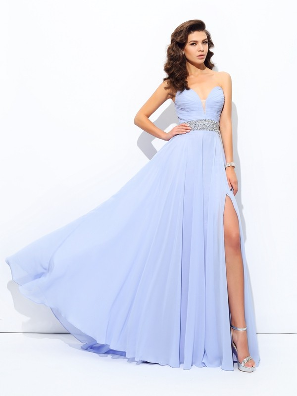 Open to Adoration Princess Style Sweetheart Beading Long Chiffon Dresses