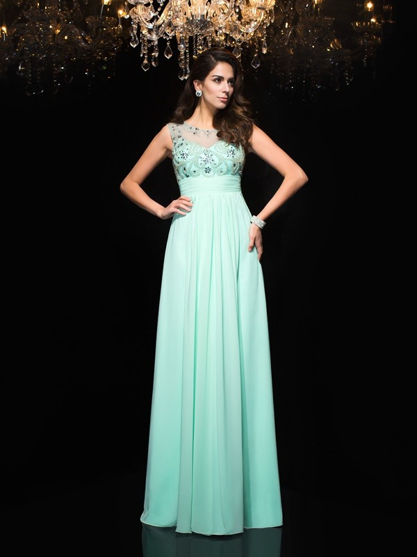 Dancing Queen Princess Style Sheer Neck Beading Long Chiffon Dresses