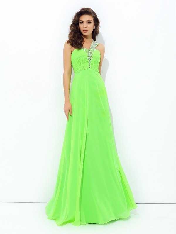 Fresh Picks Princess Style One-Shoulder Rhinestone Long Chiffon Dresses