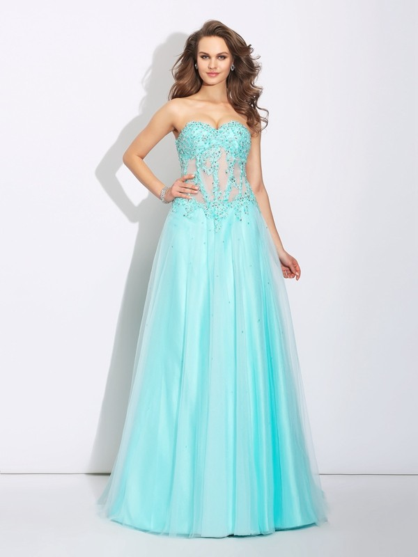 Naturally Chic Princess Style Sweetheart Lace Long Net Dresses