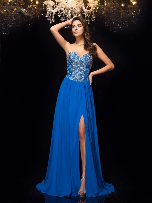 Desired Spotlight Princess Style Sweetheart Beading Long Chiffon Dresses