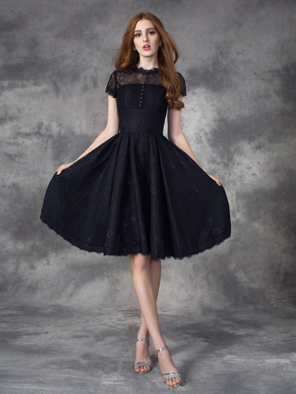 Comfortably Chic Princess Style Jewel Lace Short Lace Dresses