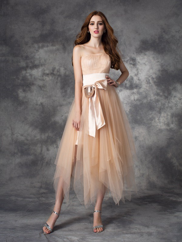 Voiced Vivacity Princess Style Strapless Bowknot Long Elastic Woven Satin Dresses