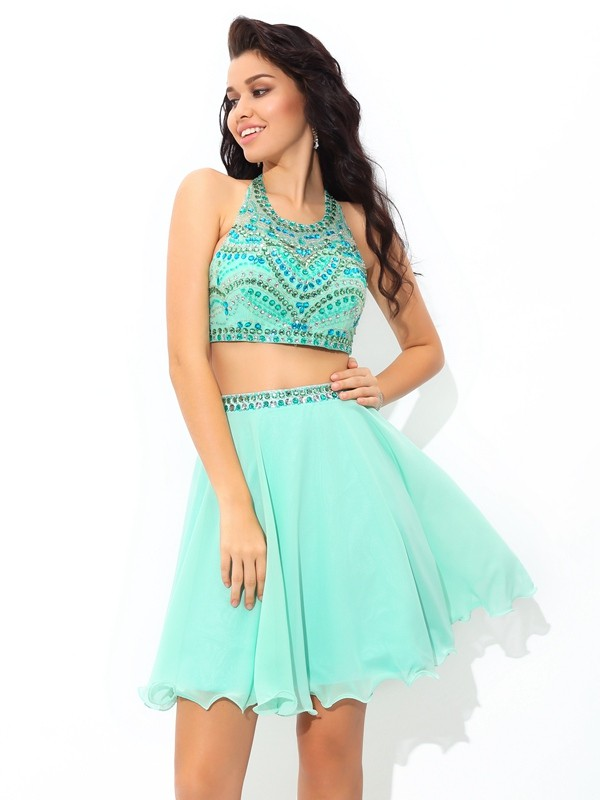 Cordially Delighted Princess Style Sheer Neck Rhinestone Short Chiffon Two Piece Dresses