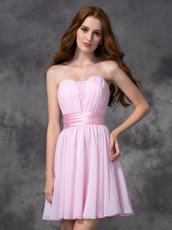 Confident Option Princess Style Sweetheart Ruched Short Chiffon Dresses
